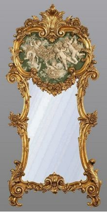 Antique French Gold Mirror with Green and White Marble Cherub Plaque