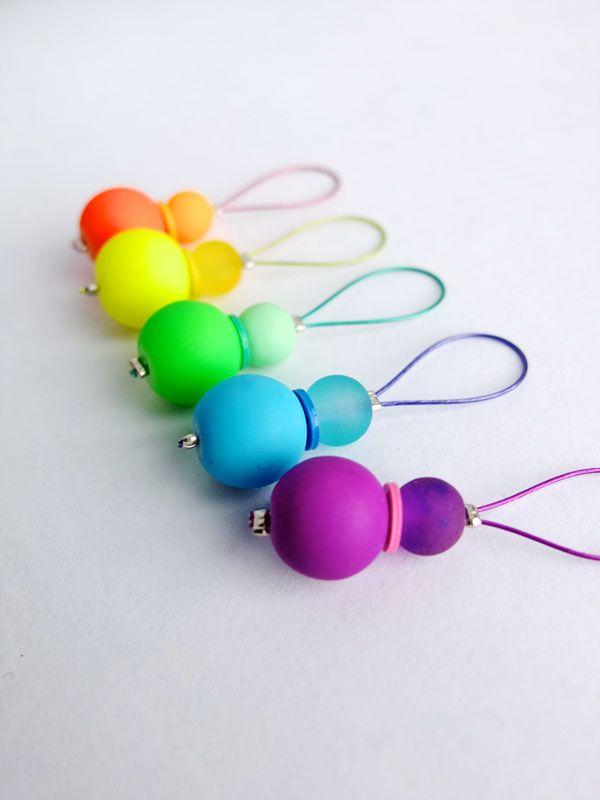 DiY knitting rainbow stitch markers mypoppet.com.au