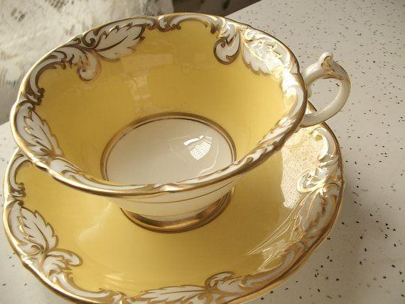 RARE yellow tea cup and saucer set, vintage Paragon English tea cup, Antique bone china tea set, yellow gold cup, RESERVED for Mariya