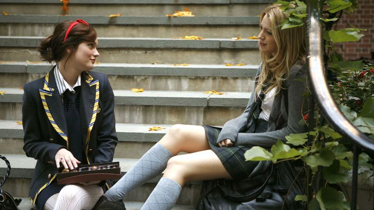 "Gossip Girl, season 1, episode 7, ""Victor/Victrola,"" aired 7 November 2007. Blair Waldorf (on the left) is played by Leighton Meester and Serena van der Woodsen is played by Blake Lively. Blair: ""May I remind you that this is your first real boyfriend, S. And in relationships you talk about stuff."" Serena: ""I know but... I don't know, sometimes talking about it or planning it can ruin a good thing, you know?"" Blair: ""I would know."""