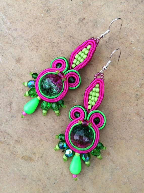 Neon green fuchsia fancy soutache summer long by AtelierMagia