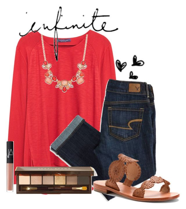 """""""#prepauditions~read d"""" by smileyavenuegirl ❤ liked on Polyvore featuring Violeta by Mango, Style & Co., American Eagle Outfitters, Jack Rogers, Bobbi Brown Cosmetics, NARS Cosmetics and prepauditions"""