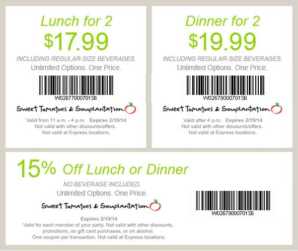 image regarding Souplantation Printable Coupons identify Coupon souplantation lunch / Genuine laser tag