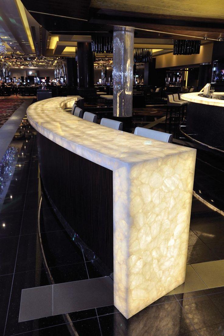 Crown Casino West End Lumia Bar - Back-lit Semi-precious Wild White Crystal Quartz Benchtop | Apex Stone - Australia