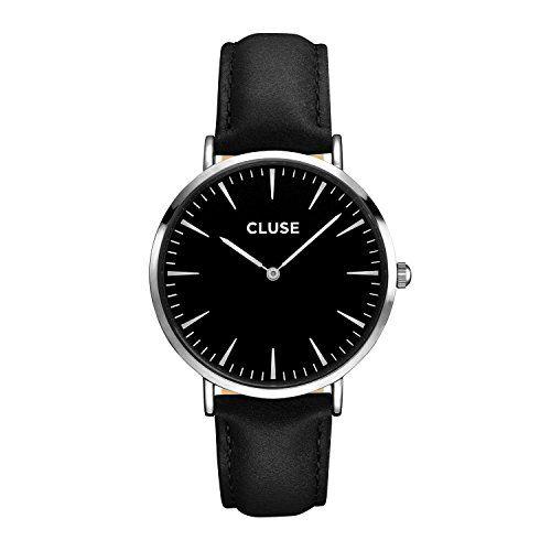 CLUSE Armbanduhr La Bohème Silber Leder Schwarz - http://uhr.haus/cluse/cluse-armbanduhr-la-boh-me-silber-leder-schwarz