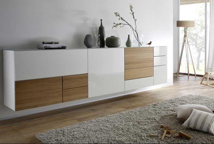 Wohnmöbel, Moderne sideboard hängend weiß hochglanz mit gepaart dem warmen Oliv holz komplette mit unterschiedliche Größe der stauraum für sideboard hängend moderne design: