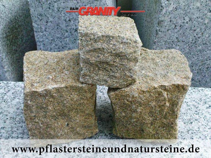 B&M GRANITY -  GELBE, frostbeständige, feinkörnige, allseitig gespaltene Granit-Pflastersteine, die man interessant mit anderen Pflasterstein-Sorten zusammenstellen und verbauen kann. Die Erzeugnisse aus Naturstein sind einmalig, weil die nie identisch sind.    http://www.pflastersteineundnatursteine.de/fotogalerie/pflastersteine/