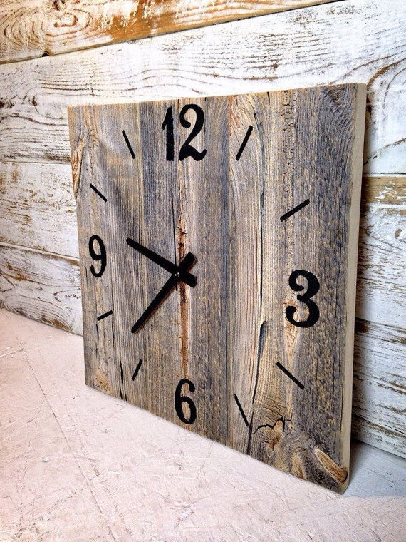 Each clock is handcrafted just for you when you order. I carefully select 3 complimentary pieces of barn wood, gently sand each piece, and then secure them together using pocket screws. The numbers are hand painted in black. • Dimensions 15 x 15 inches 20 x 20 inches 25 x 25 inches 30 x 30 inches • comes ready to hang with 1 AA Battery • • • MORE CLOCKS • • • https://www.etsy.com/shop/TheRusticPalette?section_id=15771372&ref=shopsection_leftnav_5 • • • MY ...