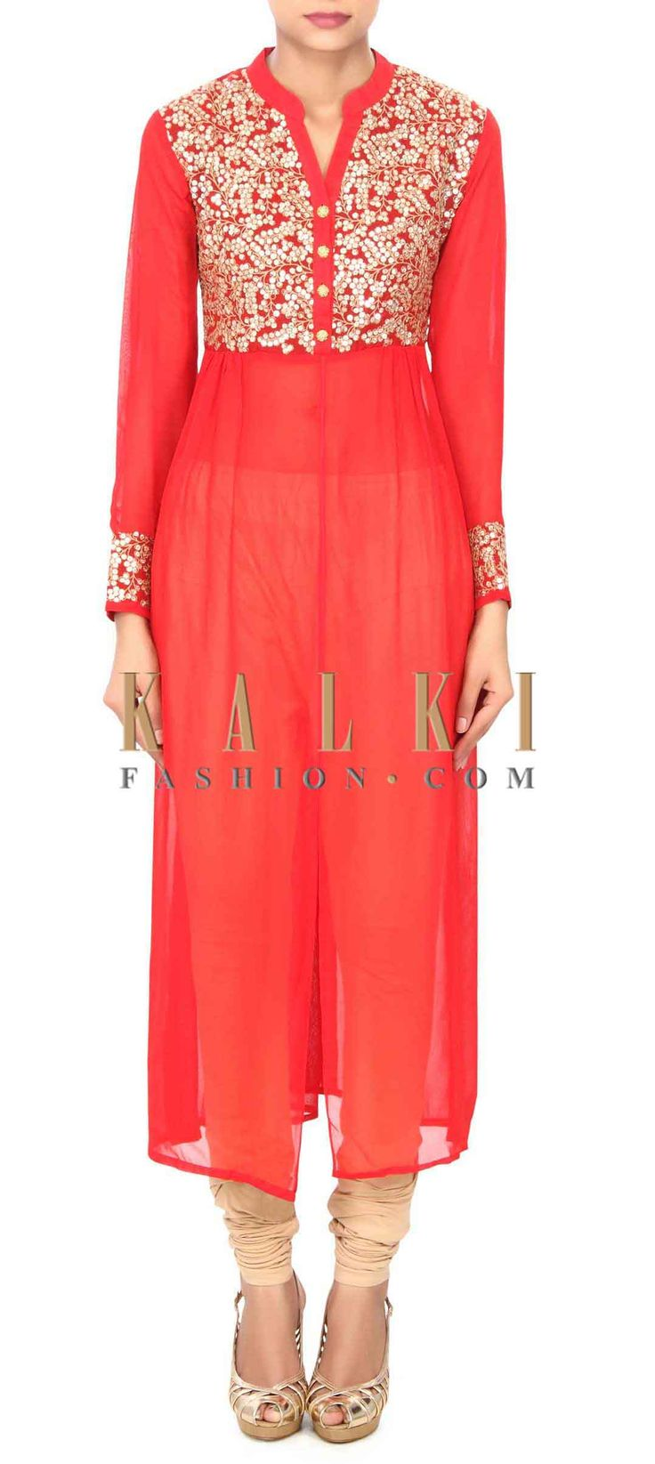 Buy this Red kurti enhanced in thread and sequin bodice only on Kalki
