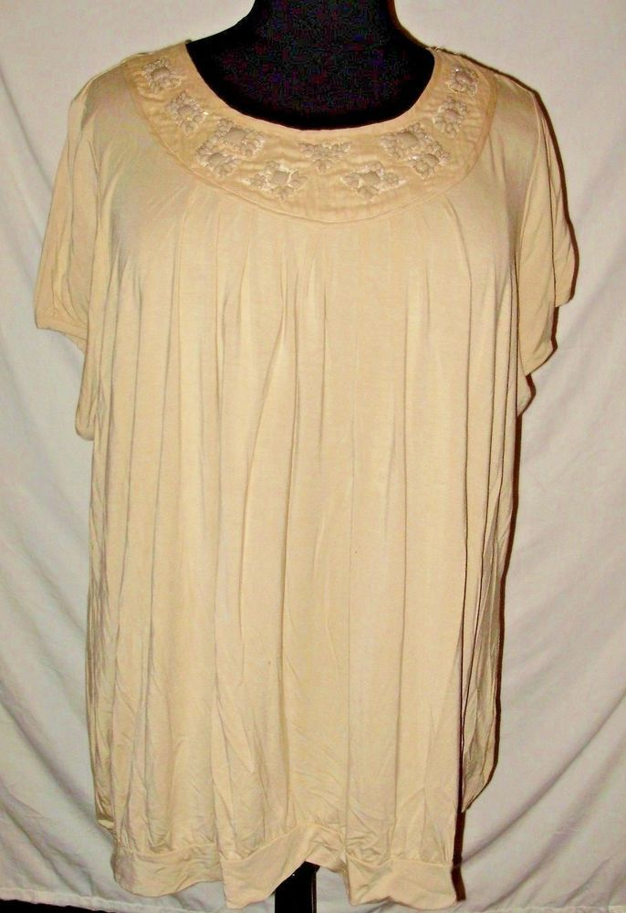 43bdbef84dc Avenue Brand Womens Plus Size Shirt 30 32 4X Tan Beaded NEW NWT Short  Sleeve A10  Avenue  Blouse