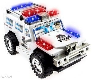 WolVol Electric Police Car Toy with Lights and Sirens, goes around and changes directions on contact (Battery Powered) - Great Gift Toys for Kids