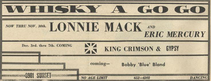 King Crimson - Whisky a Go Go Show Dates Dec 3 - 7 1969 -   LA Free Press Ad