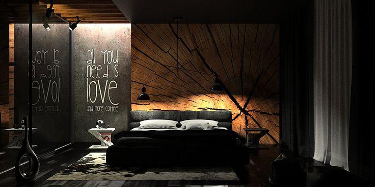 projekt sypialni, czarna sypialnia, nowoczesna sypialnia, czarne wnętrze, drewno we wnętrzu, oświetlenie w sypialni http://www.oesarchitekci.com/
