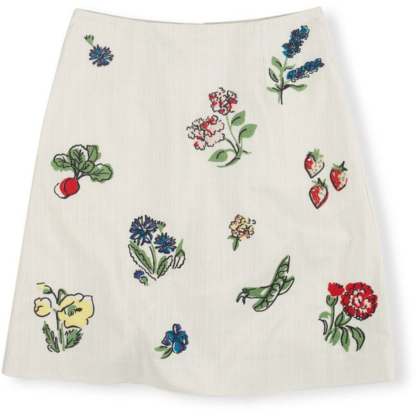 Boden Fun Skirt (355 CNY) ❤ liked on Polyvore featuring skirts, bottoms, ivory, floral skirt, nautical skirt, floral print a-line skirt, ivory skirt and flower skirt