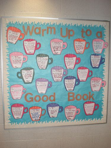 Hot cocoa bulletin board (could also use as a staff picks board?)