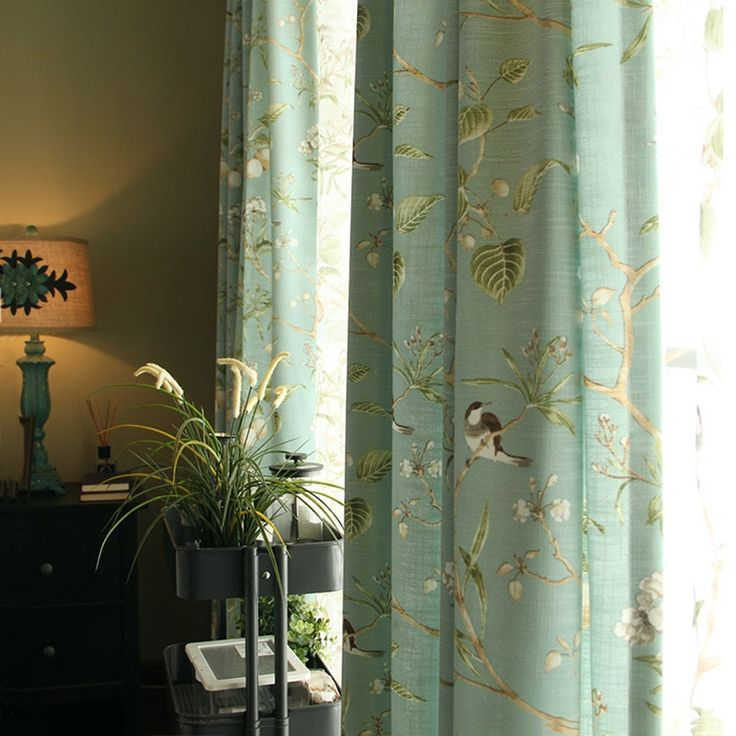 Landhaus Vorhang Blau Grn Vgelchen aus Leinen im