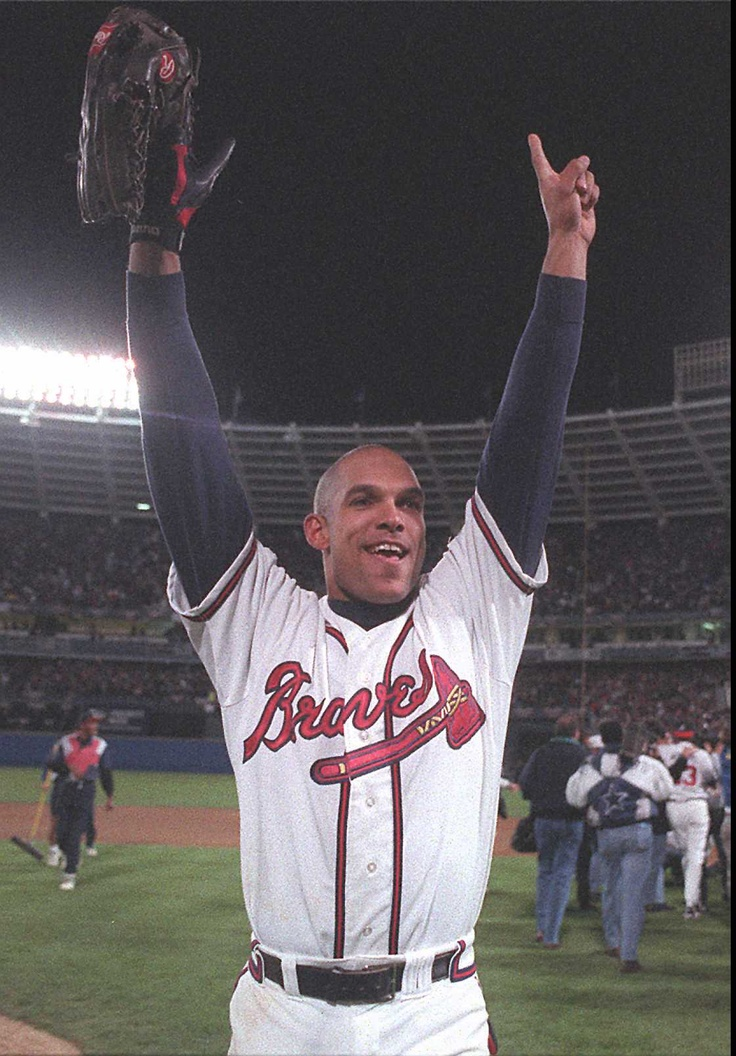 1995: David Justice celebrates Atlanta's World Series win over Cleveland. (Jonathan Newton / AJC File)