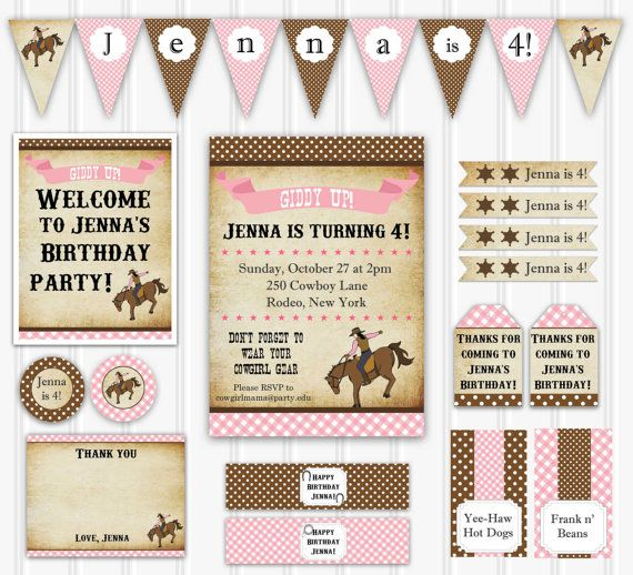 Cowgirl Birthday Party Set INSTANT DOWNLOAD Rodeo Birthday Invitation, Cowgirl Decorations, Printable Party Decoration, Vintage Cowgirl Kit