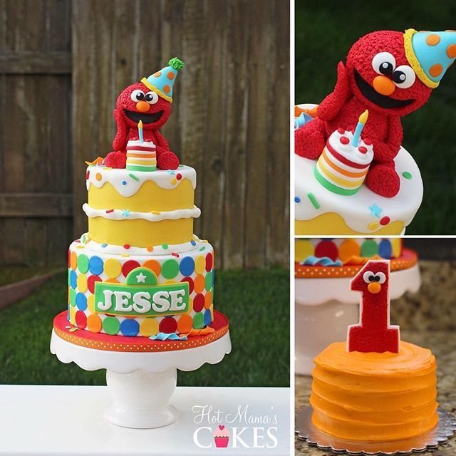 Surprising A Fun Elmo Themed 1St Birthday Cake For Jesse Happy Birthday Funny Birthday Cards Online Alyptdamsfinfo