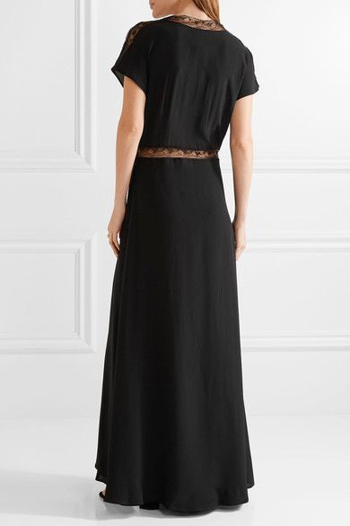 Paul & Joe - Lace-trimmed Silk Crepe De Chine Maxi Dress - Black - FR42