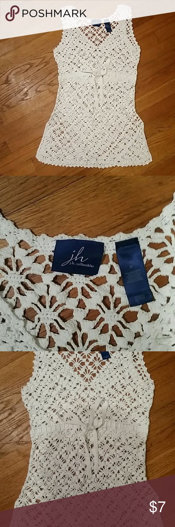 Crochet Mini Dress Size medium, white Crochet Mini Dress, j. h. Collection, soooo adorable, white draw string. Like new! j. h. collection Dresses Mini