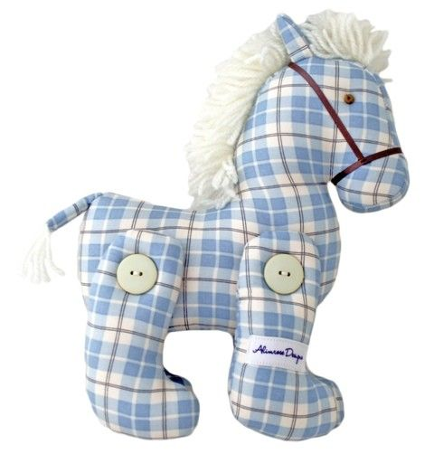 Beautiful blue plaid jointed pony with red features by Alimrose Designs!  This adorable pony stands at approximately 22cm and will make a gorgeous addition to any nursery.  Little Boo-Teek - Alimrose Designs Online | Baby Gifts Online | Baby Shower