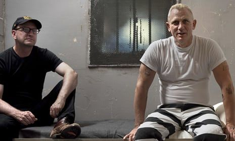 Cut loose … Steven Soderbergh, left, with Daniel Craig on the set of Logan Lucky.