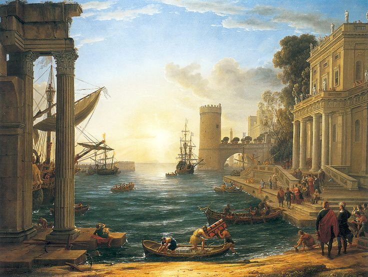 'Seaport with the Embarkation of the Queen of Sheba' - Claude Lorrain (1648) - This landscape uses figures as secondary elements instead of traditional paintings where the landscape was never particularly focused on. Lorraine uses a very balanced composition with certain structural elements to ensure that beauty can come from other genres of art.