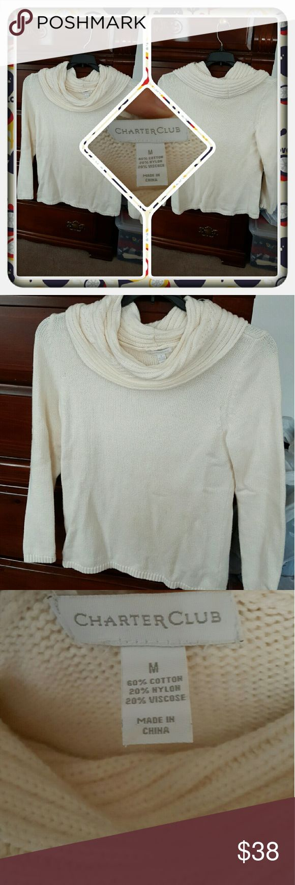 ❤ Woman's White Cowl Neck Sweater Size M ❤ Woman's Cowl Neck Sweater In A Whitish Color Size Is Medium From Charter Club. Excellent Pre Loved Condition. I'm Selling For A Friend 🚫 PAYPAL 🚫 TRADES 🚫 LOWBALLING ONLY REASONABLE FAIR OFFERS ❤ Charter Club Sweaters Cowl & Turtlenecks