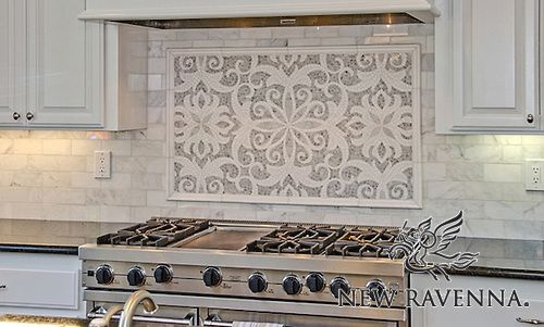 Arabella, a natural stone waterjet and hand cut mosaic shown in Carrara and polished Thassos, is part of the Silk Road Collection by Sara Baldwin for New Ravenna Mosaics. -photo courtesy of Da Vinci Marble