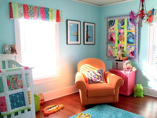 Absolutely love how colorful this room is!Wall Colors, Colors Kids Room, Colors Nurseries, Nurseries Baby'S Peaches, Kids Baby, Baby Room, Bright Colors, Art Baby, Baby Nurseries