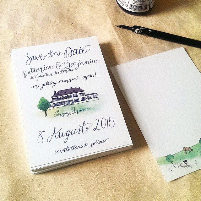 A uniquely illustrated and watercoloured venue, and a touch of calligraphy for Katherine & Benjamin rustic French wedding Save the Date postcard