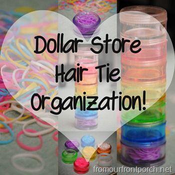 fromourfrontporch.net - Dollar Store Hair Tie Organization