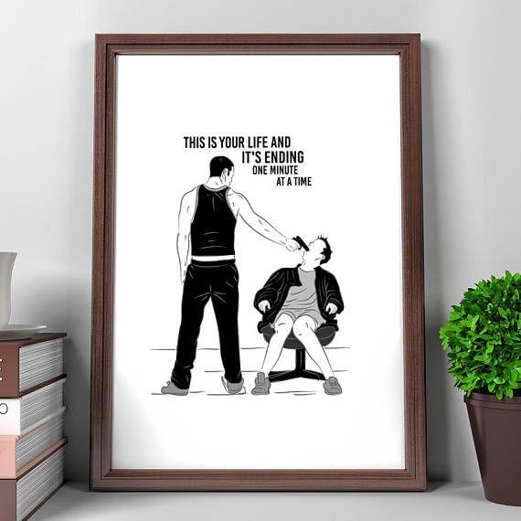 Fight Club Poster, Tyler Durden, Fight Club Final Scene, Illustrations, Typography, Gift Idea, Black