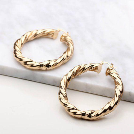 Gold twist hoops gold hoops gold hoop earrings twist earrings stainless steel hoops
