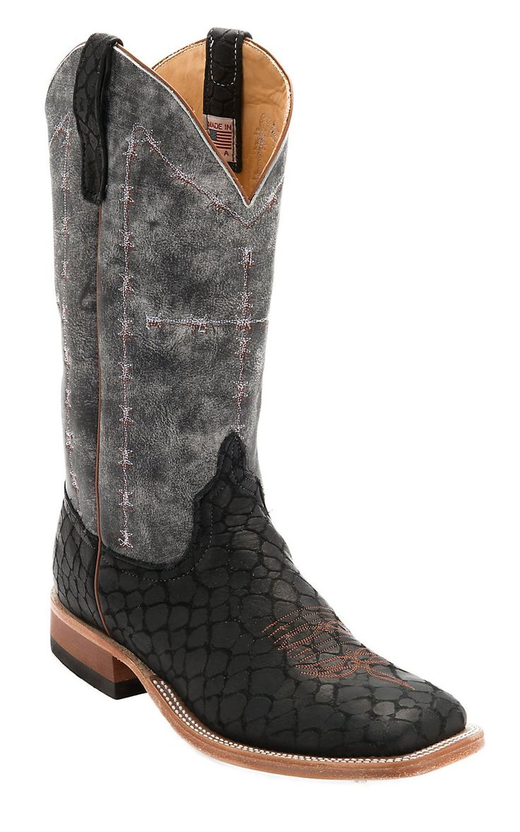 Anderson Bean Men's Black Loch Ness with Midnight Monet Double Welt Square Toe Western Boot