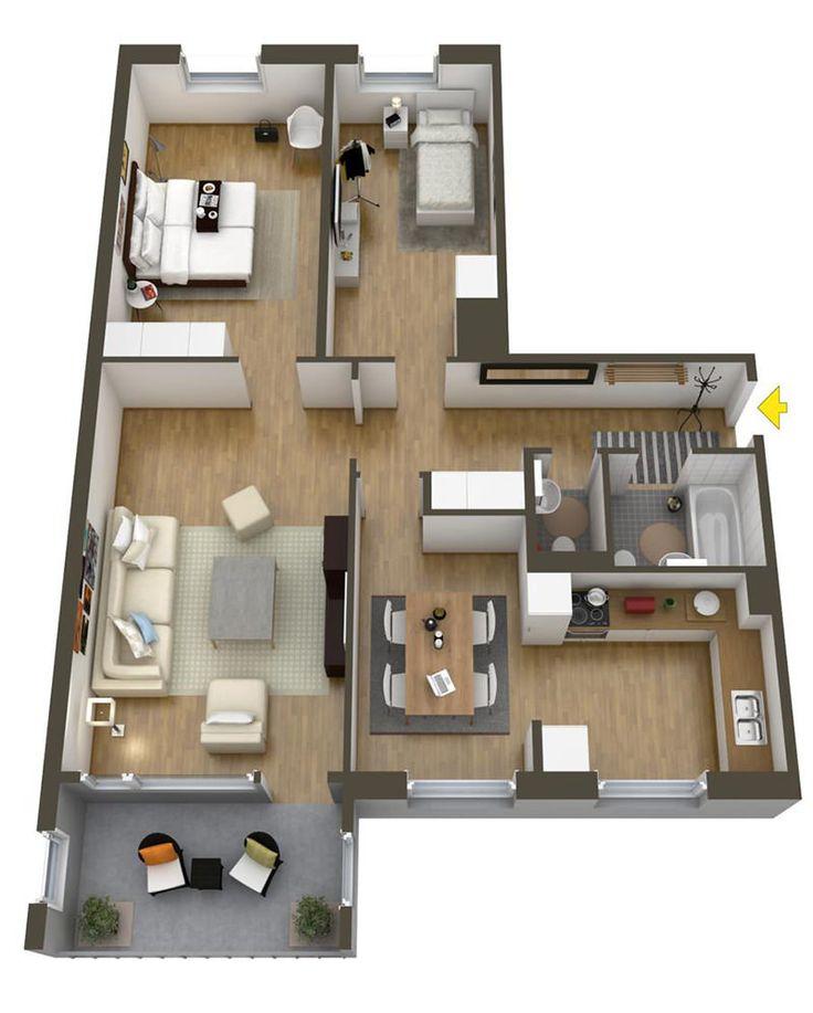 Um apartamento de dois quartos possui, em média, espaço suficiente para que a maioria das pessoas possa viver confortavelmente. Com dois quartos à disposiç