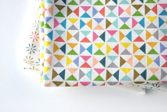 pinwheels  - rainbow fabric - fat quarter - triangle fabric - geometric fabric. $9.00, via Etsy.