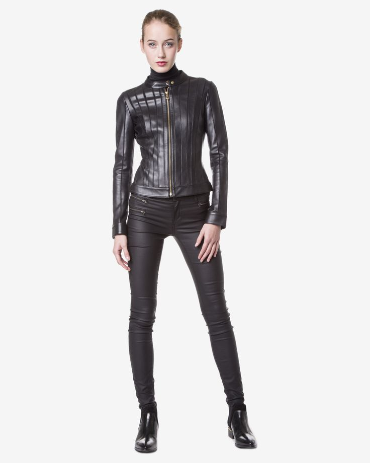 Versace - Geaca de piele biker neagra