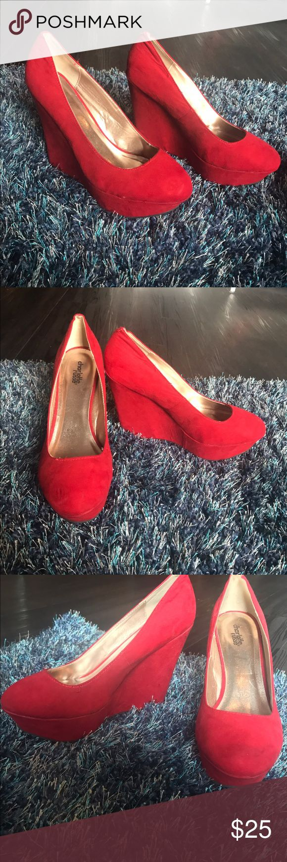 Gorgeous RED WEDGED HEELS! Comfortable and stylish heels with a beautiful red color. Shoes Wedges