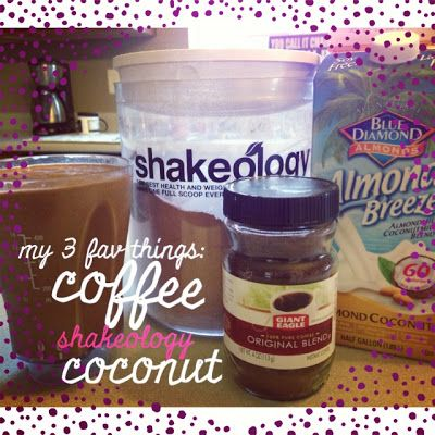 coconut coffee shakeology: Easy peasy breakfast with the right combination of carbs to protein makes my morning easier!