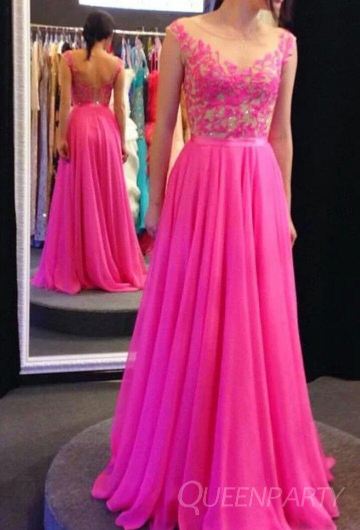 Chiffon A-Line Fuchsia Lace Prom Dress