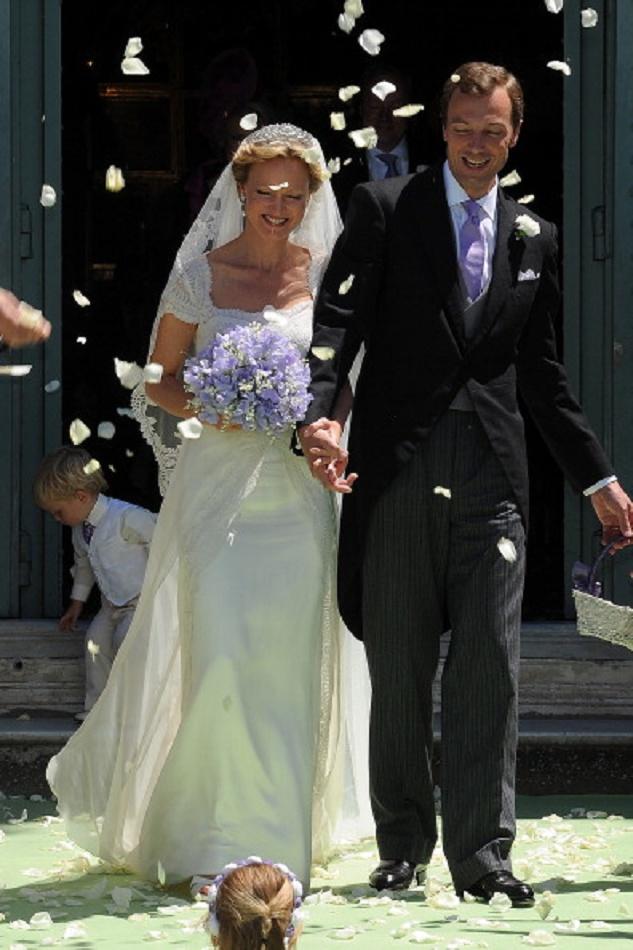 HRH Princess Carolina de Borbon Parma and Albert Brenninkmeijer leave the Basilica di San Miniato al Monte after their wedding.