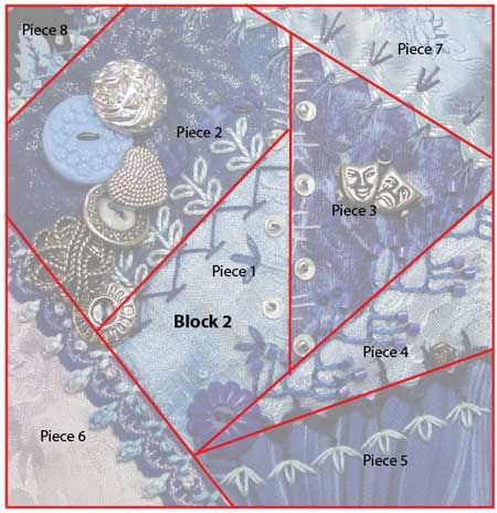 Crazy quilt details - Pintangle | Block 2