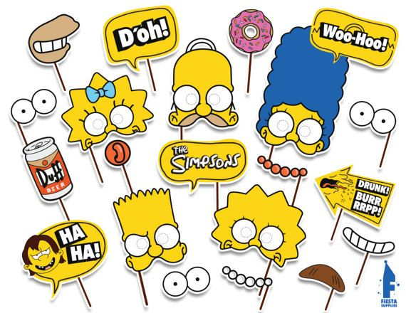 Printable Simpsons photo booth props The by FiestaSupplies