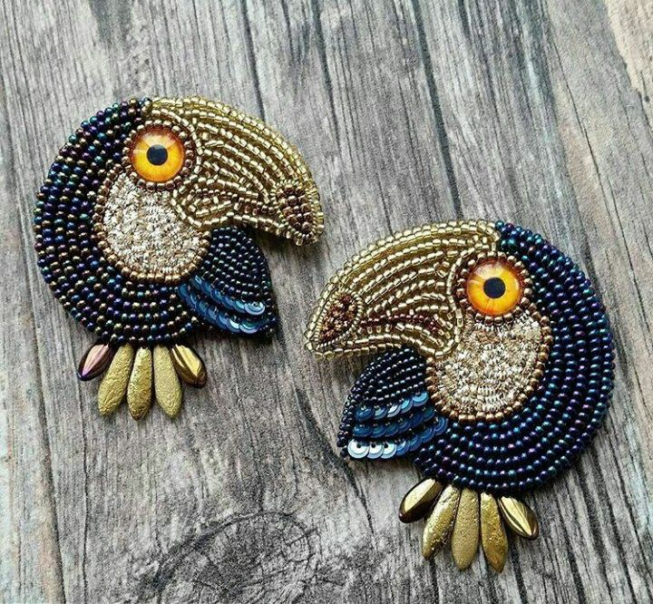 Bead embroidered birds !
