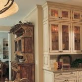 Cabinetry can be designed to create a beautiful built-in #hutch that blends with your furniture. A #country styled #kitchen featuring Dura Supreme #Cabinetry. – Find more ideas like this at DuraSupreme.com  #DuraSupreme #farmhousestyle #countrykitchen #CountryStyle #rustic #interiors #interior