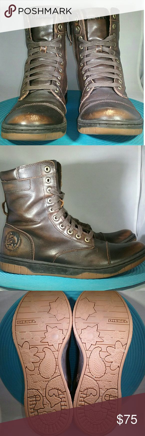 Diesel Boots- 9.5 Men's Brown, distressed, leather boots. Cap toe lace up with a fireman's zipper. Size 9.5. Gently worn.   MAKE ME AN OFFER.  I negotiate on EVERYTHING in my closet! Diesel Shoes Boots