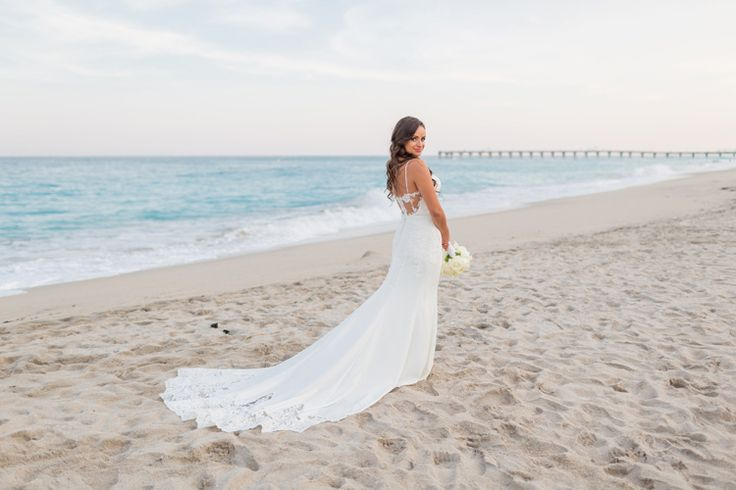 Florida Hotel Wedding at Tideline Ocean Resort and Spa Photographer - Thompson Photography Grou  Perfect details on a fitted wedding dress!