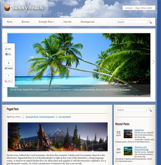 This free WordPress travel theme includes a responsive layout, social sharing, a Google Maps shortcode, custom sidebars and menus, a contact page, SEO optimised code, a dynamic content loader, and more.